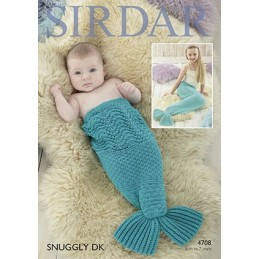 Sirdar Knitting Pattern 4708 Baby Children Mermaid Fish Tail Blanket Snuggly DK