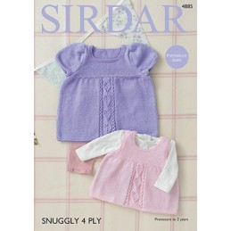 Sirdar Knitting Pattern 4885 Baby Girl Dress Pinafore Snuggly 4 PLY