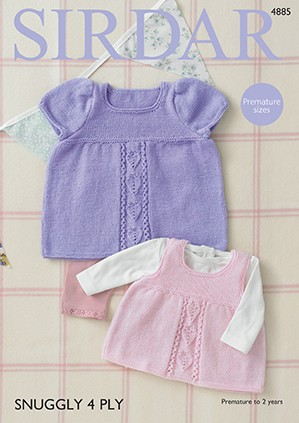 Sirdar Crochet Pattern 4885 Baby Girl Dress Pinafore Snuggly 4 PLY