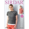 Sirdar Knitting Pattern 8080 Boat Neck Cable Stripe Top or Vest Dapple DK
