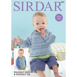 Sirdar Knitting Pattern 4904 Baby Sweater Childrens Easy Knit Snuggly Rascal DK