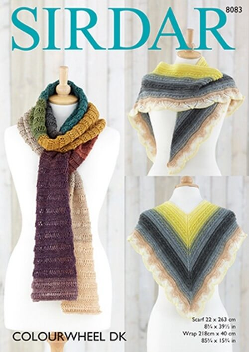 Sirdar Knitting Pattern 8083 Drop Stitch Scarf & Delicate Wrap Colourwheel DK