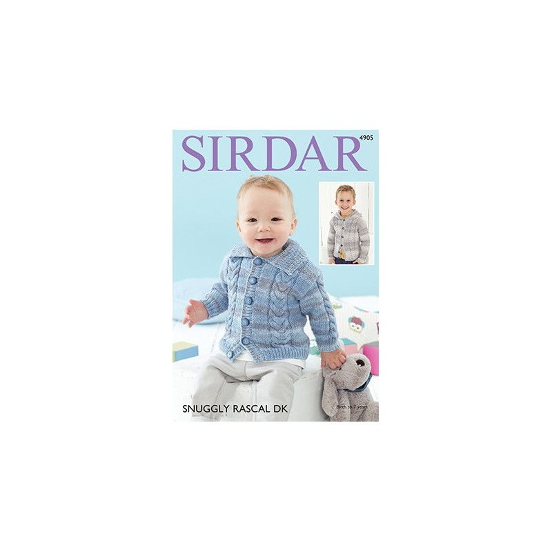 Sirdar Knitting Pattern 4905 Baby Cardigan Childrens Knit Snuggly Rascal DK