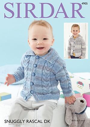 Sirdar Knitting Pattern 4905 Baby Cardigan Childrens Knit Snuggly Rascal DK