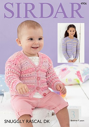 Sirdar Knitting Pattern 4906 Baby Cardigan Childrens Knit Snuggly Rascal DK