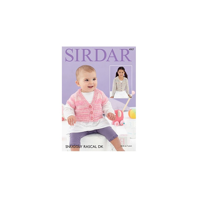 Sirdar Knitting Pattern 4907 Baby Cardigan Childrens Knit Snuggly Rascal DK