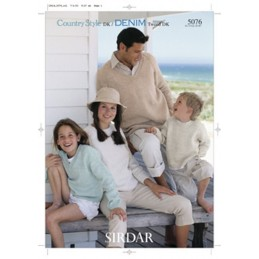 Sirdar Knitting Pattern 5076 Simple Sweaters Round or V-Neck Country Style DK