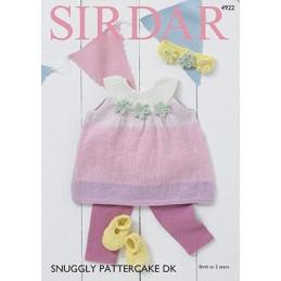 Sirdar Knitting Pattern 4922 Baby Pinafore Headband Shoes Snuggly Pattercake DK