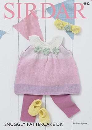 Sirdar Knitting Pattern 4922 Baby Pinafore Headband Shoes Snuggly Pattercake DK
