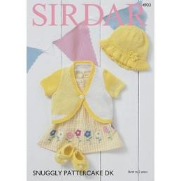 Sirdar Knitting Pattern 4923 Bolero Sunhat & Shoes Snuggly Pattercake DK