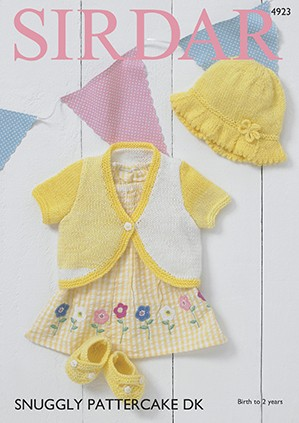 Sirdar Knitting Pattern 4923 Bolero Sunhat & Shoes Snuggly Pattercake DK