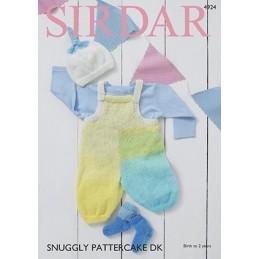 Sirdar Knitting Pattern 4924 Baby Dungarees Hat & Socks Snuggly Pattercake DK