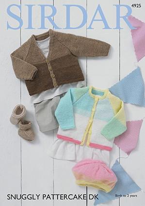 Sirdar Knitting Pattern 4925 Baby Cardigan Beret & Bootees Snuggly Pattercake DK