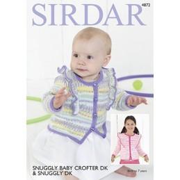 Sirdar Knitting Pattern 4872 Baby Cardigan Children Knit Snuggly Baby Crofter DK