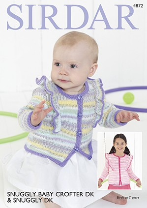 Sirdar Knitting Pattern 4872 Baby Cardigan Children Knit Snuggly Baby Crofter DK