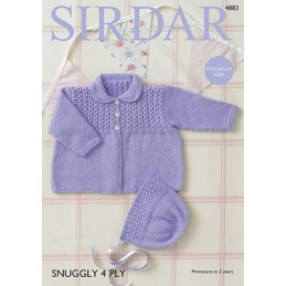 Sirdar Knitting Pattern 4883 Babies Cute Coat & Bonnet Knit Snuggly 4 PLY