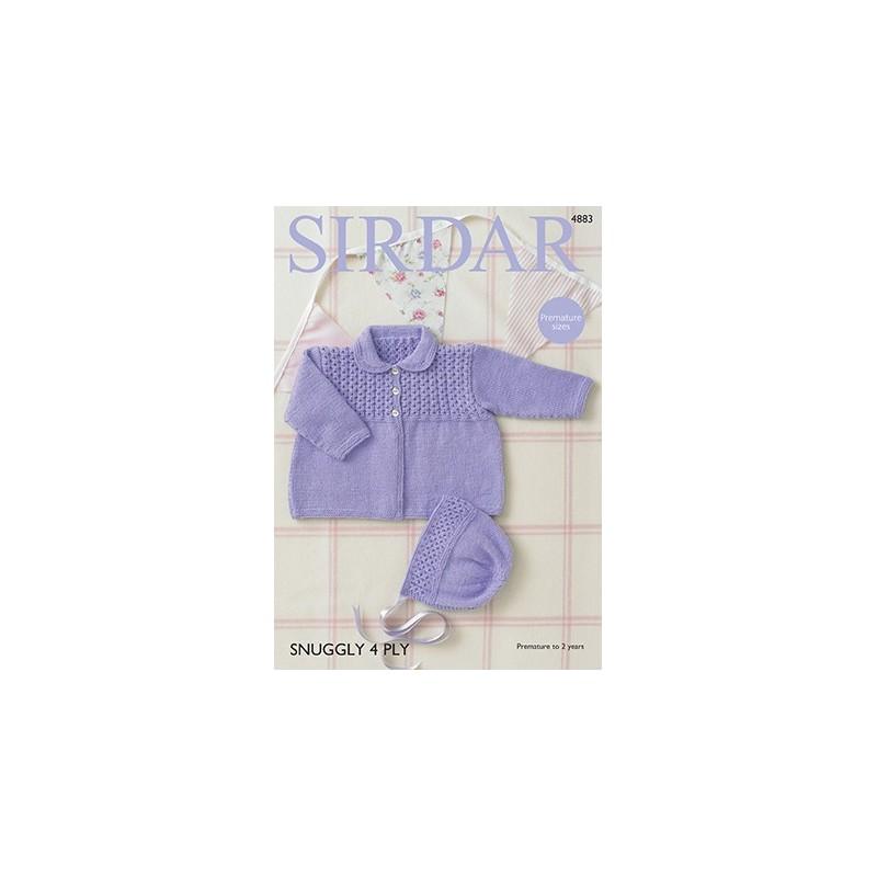 6cbc30f9c1a9 Sirdar Knitting Pattern 4883 Babies Cute Coat   Bonnet Knit Snuggly...