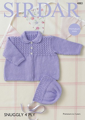 Sirdar Knitting Pattern 4883 Babies Cute Coat & Bonnet Knit Snuggly 4 PLY