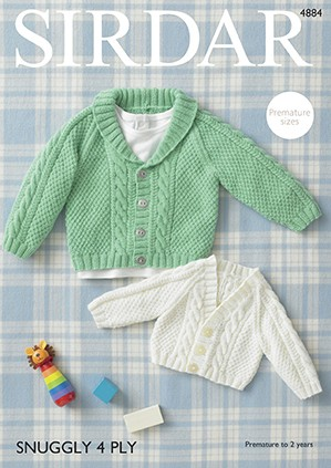Sirdar Knitting Pattern 4884 Babies Collared & V Neck Cardigan Knit Snuggly 4PLY