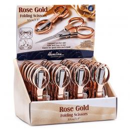 Hemline 10cm Folding Scissors Rose Gold Embroidery Thread Snippers Travel Safe