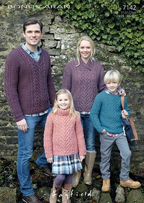 Hayfield Knitting Pattern 7142 Cable Design Sweaters with Neck Variations