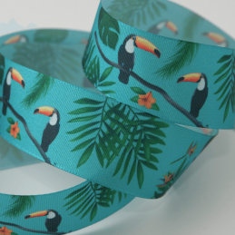 1 Metre x 25mm Tropical Toucan Bird Polyester Grosgrain Ribbon Craft Berisfords