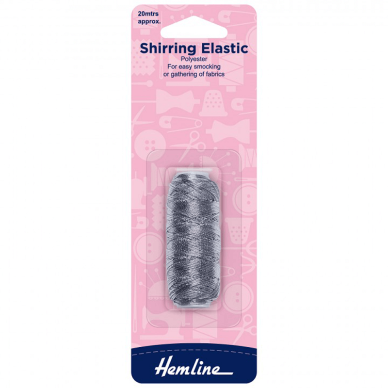 Silver Hemline 20m x 0.75mm Shirring Elastic