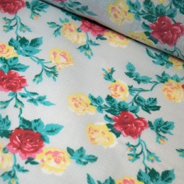 Polycotton Fabric Polka Dot Spot Classic Roses Flower Floral Garden Spotty Dotty White