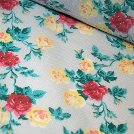 Daisy Polka Dots Fabric Floral Dotty Spotty Spots Sky Blue Fat Quarter