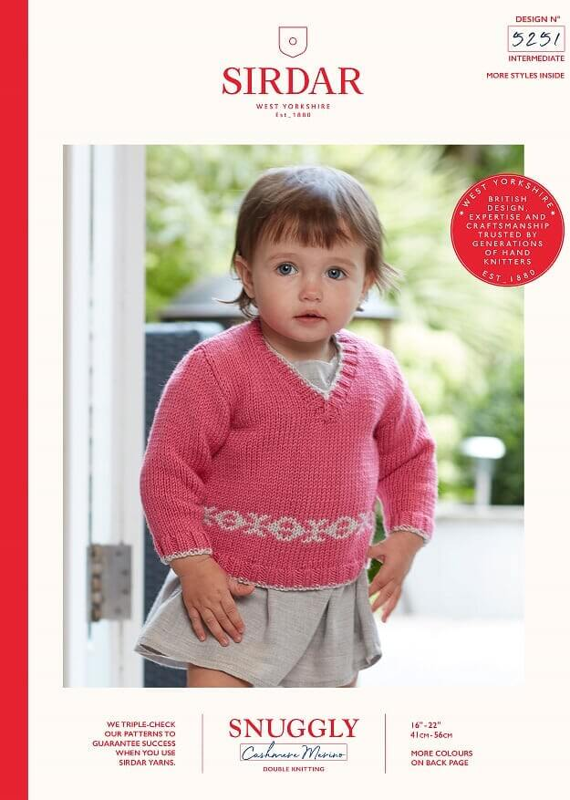 Sirdar Knitting Pattern 5251 Snuggly Cashmere Merino Baby Jumper