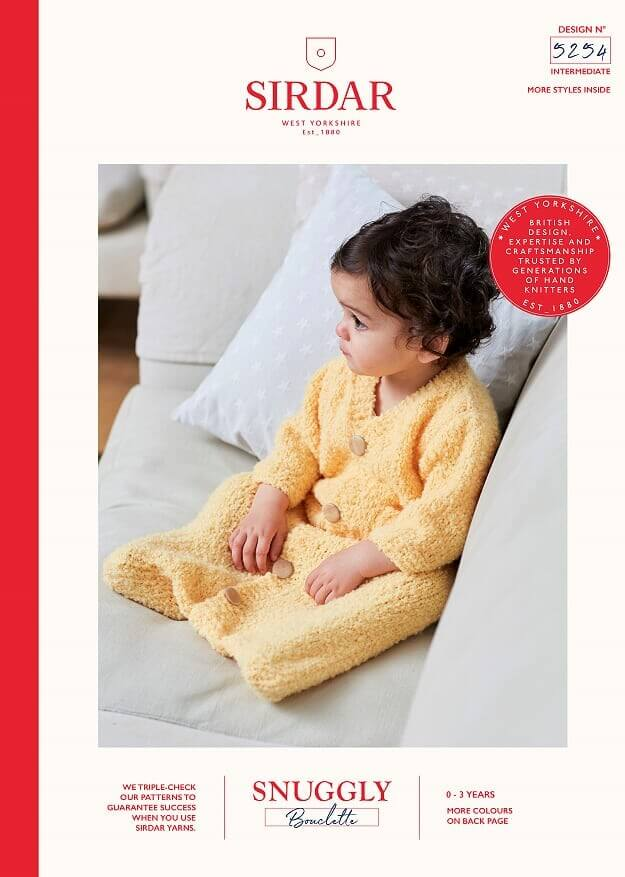 Sirdar Knitting Pattern 5254 Snuggly Bouclette Baby Sleeping Bag With Sleeves