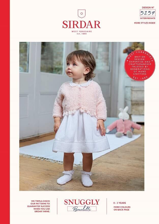 Sirdar Knitting Pattern 5257 Snuggly Bouclette Baby Cardigan & Doll cardigan