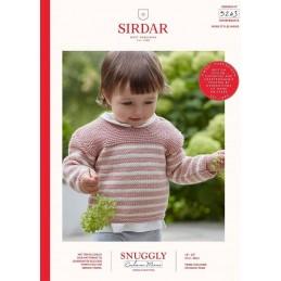 Sirdar Knitting Pattern 5243 Snuggly Cashmere Merino Baby Striped Jumper