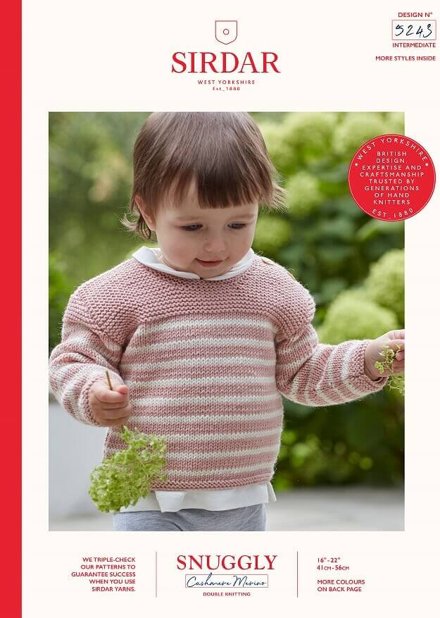 Sirdar Knitting Pattern 5243 Snuggly Cashmere Merino Baby Striped Jumper