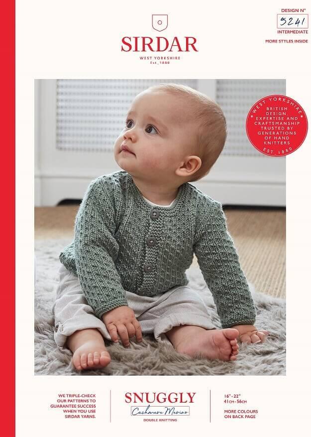Sirdar Knitting Pattern 5241 Snuggly Cashmere Merino Baby Cardigan