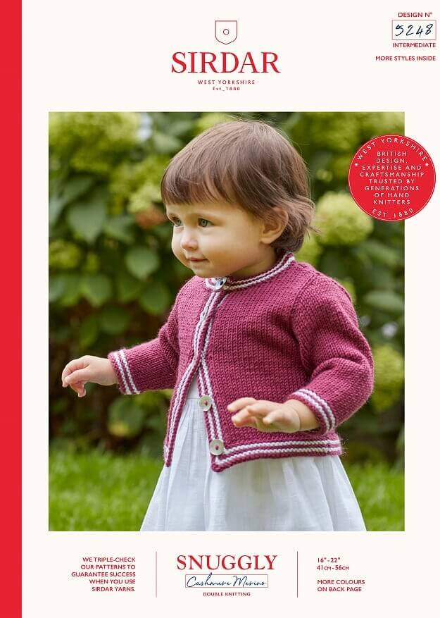 Sirdar Knitting Pattern 5248 Snuggly Bouclette Baby Cardigan With Stripe