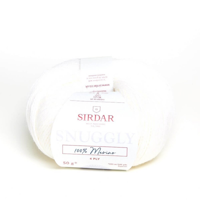 Sirdar Snuggly 100% Merino 4 Ply Baby Knitting Yarn Craft Wool 50g Ball Coconut White