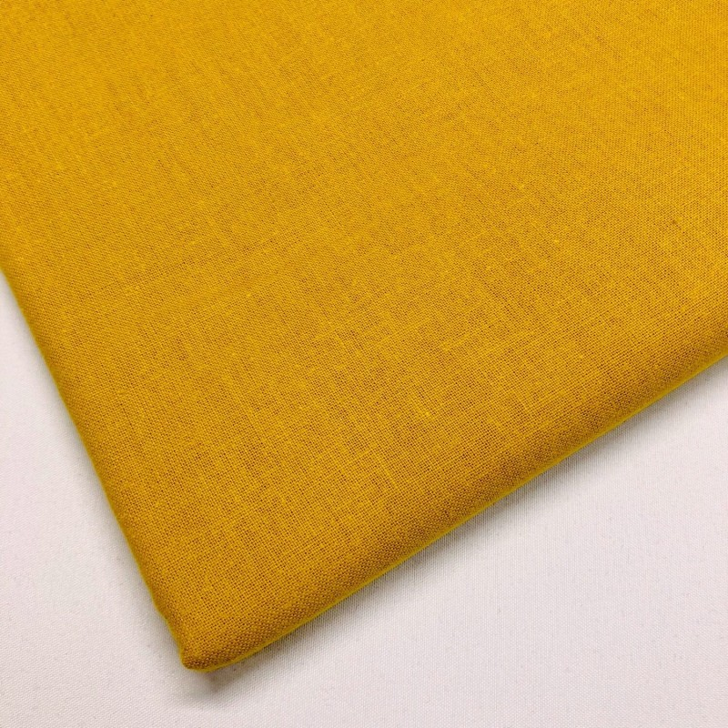 Lifestyle 100% Cotton Fabric Plain Coloured Solid 150cms Wide 135gsm Mustard Gold
