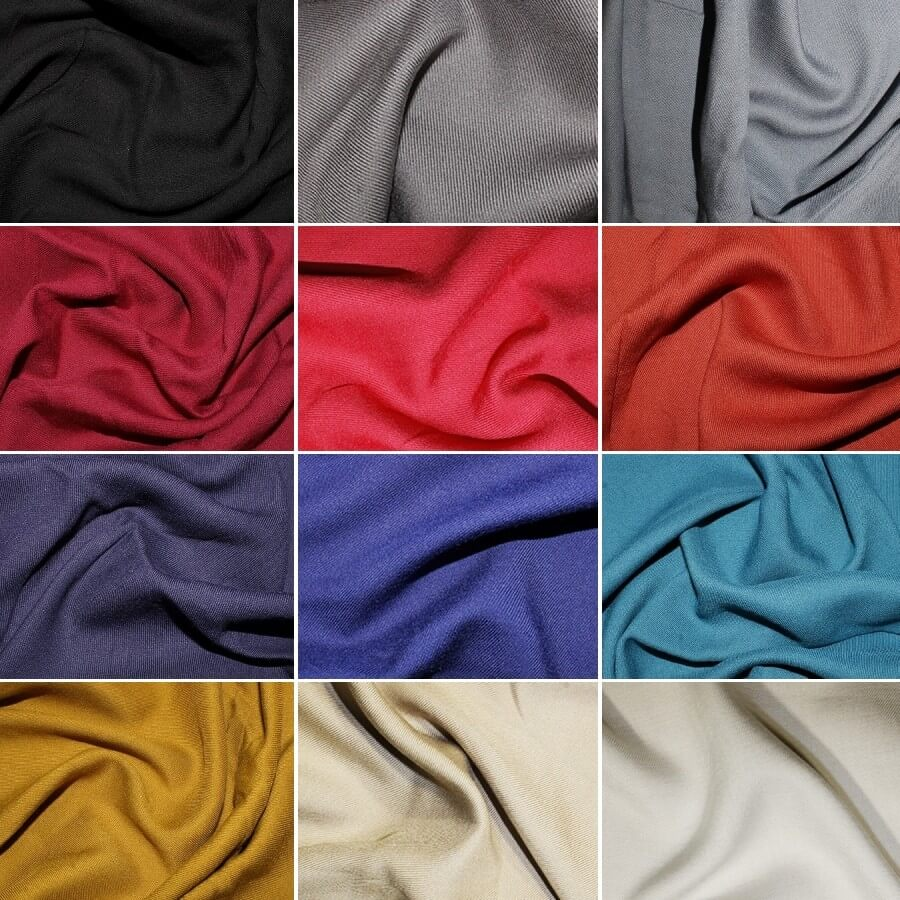 100% Viscose Twill Fabric Soft Silky Feel Dress Material 140cm Wide Silver