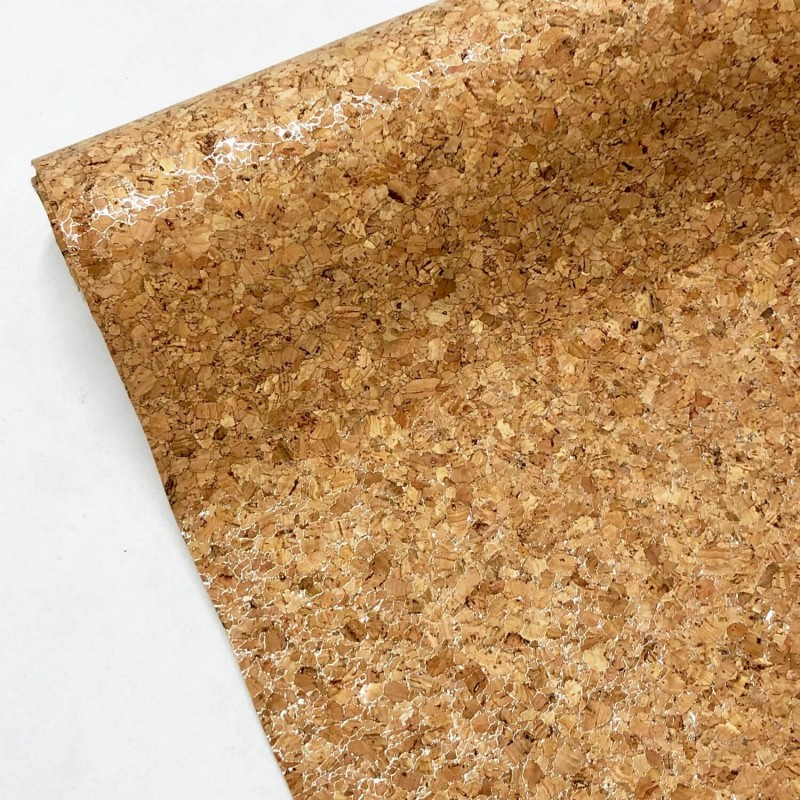 Natural Cork PU Leather Fabric Material Craft Decor Accessories Bags Silver Sparkle