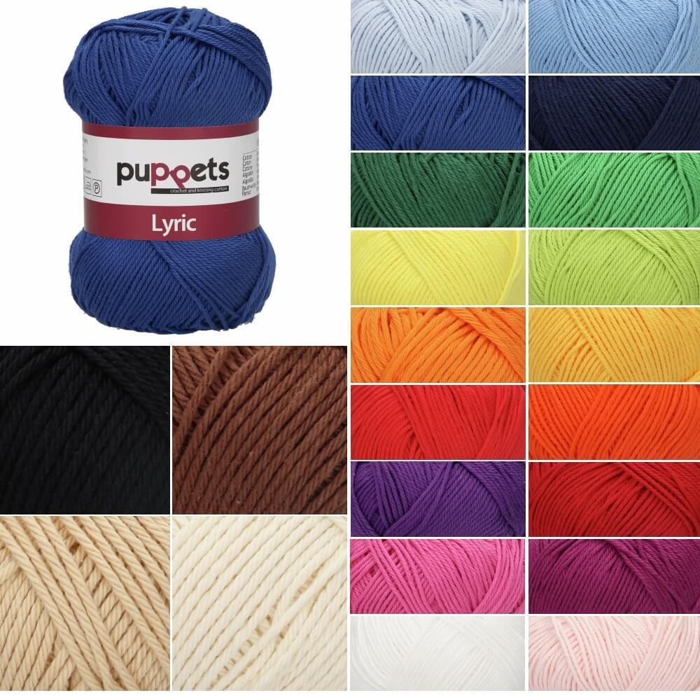Puppet Puppets Lyric No. 4 100% Cotton 4 Ply Knit Yarn Craft Wool 50g Ball White