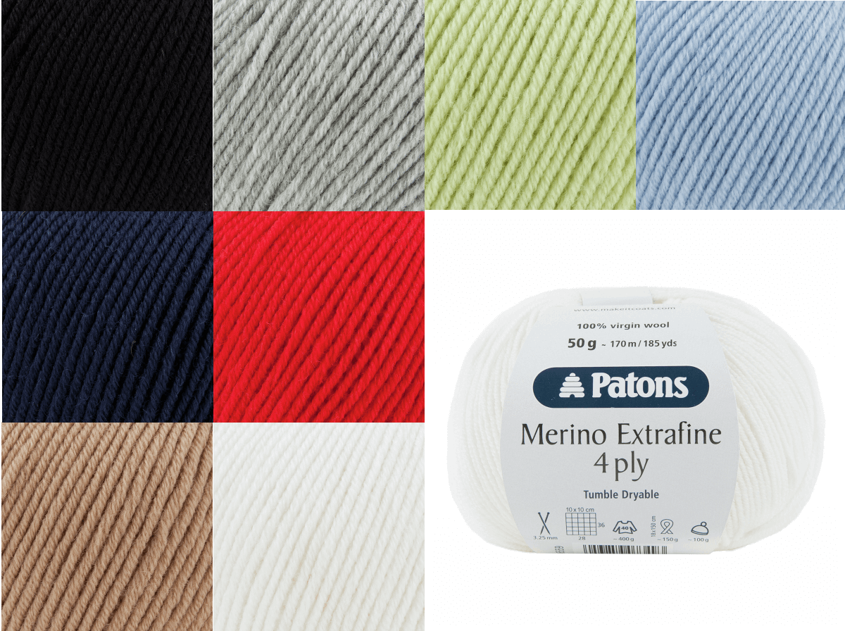 Patons Merino Extra Fine 4 PLY 100% Wool Knit Yarn Craft Wool 50g Ball 0075 Lime