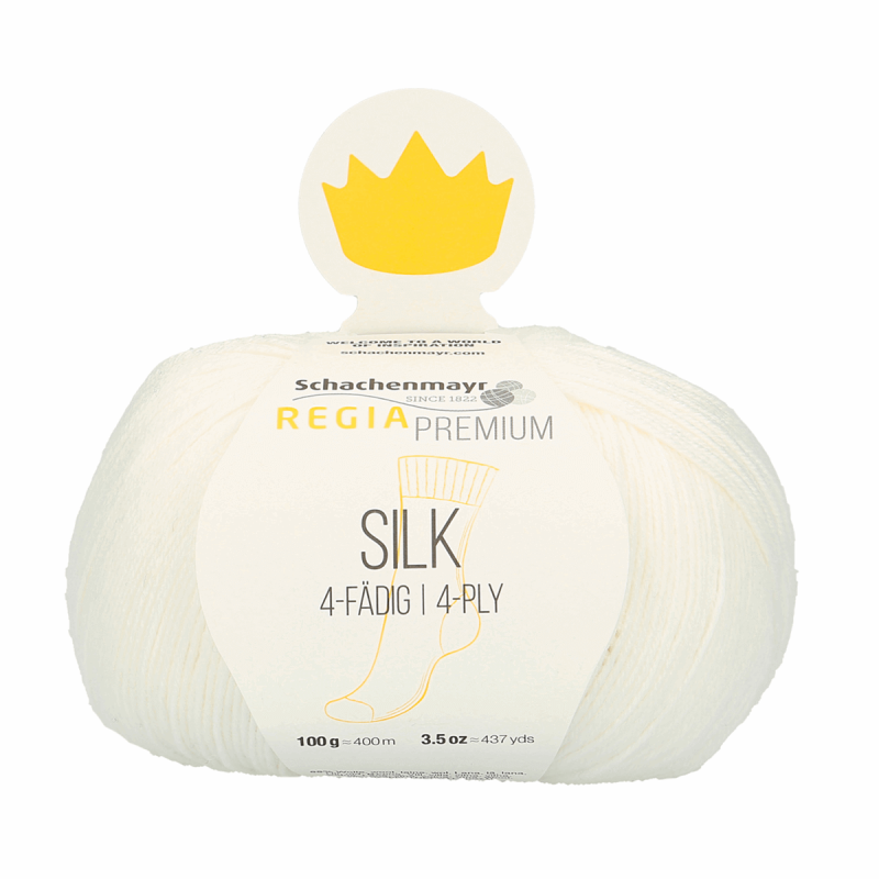 Regia Premium Silk 4 PLY Knitting Crochet Knit Yarn Craft Wool 100g Ball 0001 White