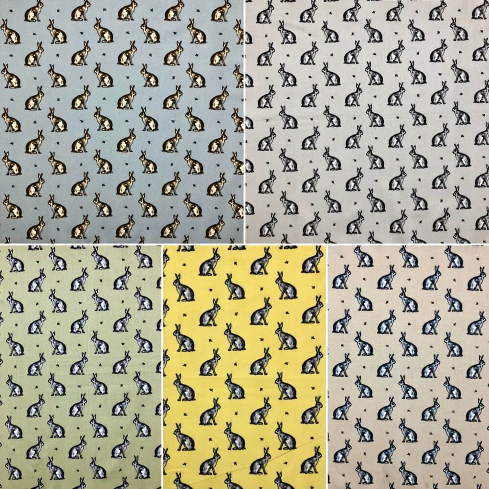 Grey 100% Cotton Fabric Lifestyle Beatrix Bunny Rabbit Hare Animal Bunnies 140cm Wide