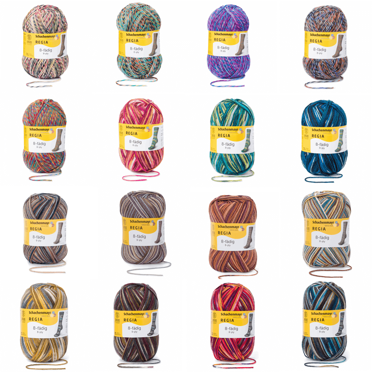 Regia Colour 8 PLY Stripe Knitting Crochet Knit Yarn Craft Wool 150g Ball 8997 Stockholm Svartlog