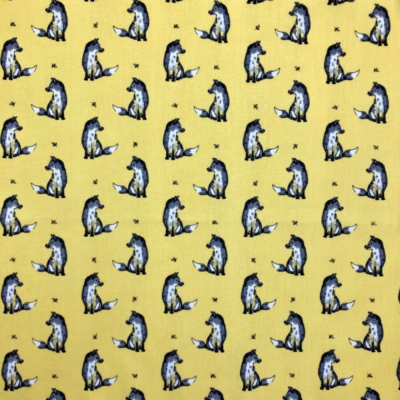 Yellow 100% Cotton Fabric Lifestyle Felix Fox Foxes Wildlife Animals 140cm Wide