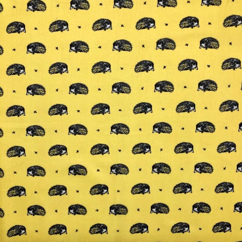 Yellow 100% Cotton Fabric Lifestyle Harriet Hedgehog Animals Wildlife 140cm Wide
