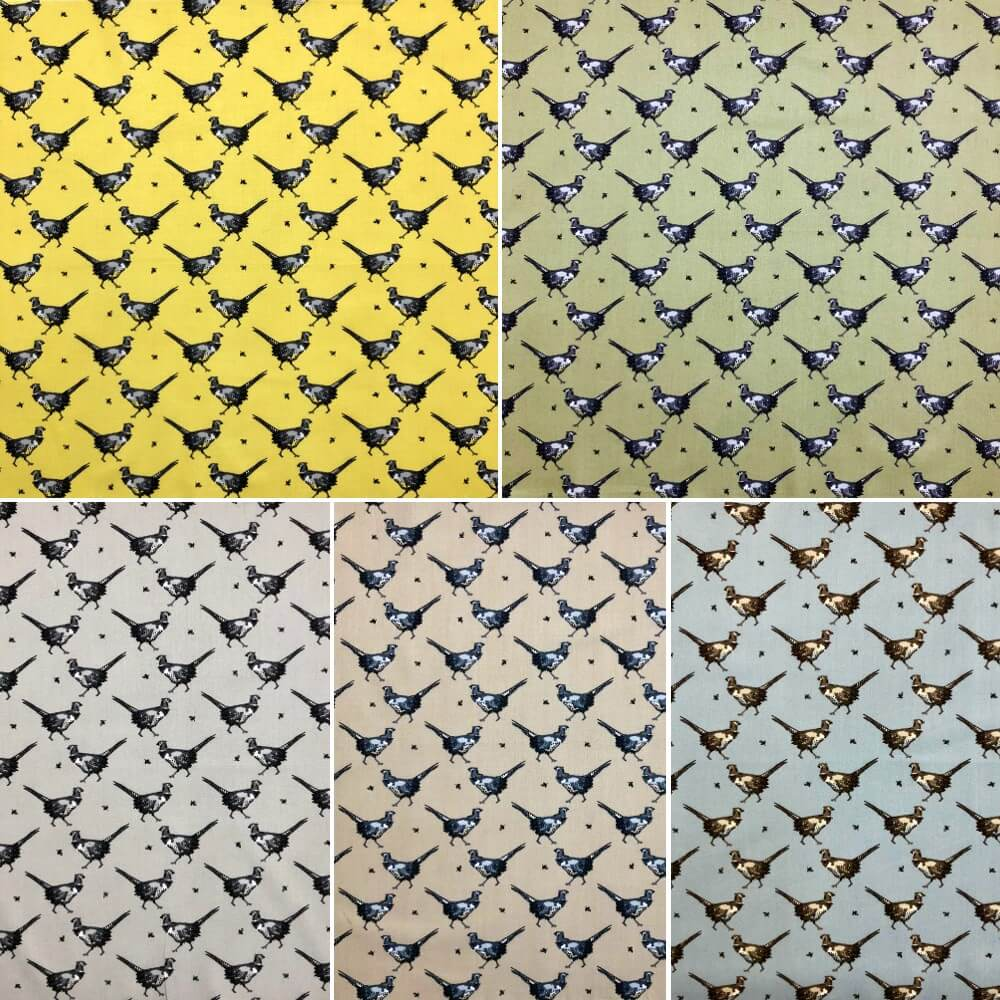 Powder Blue 100% Cotton Fabric Lifestyle Phineas Pheasant Bird Animals Wildlife 140cm Wide