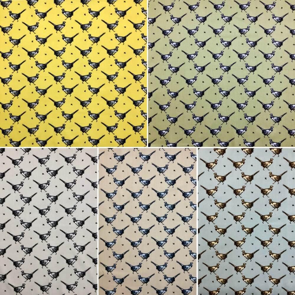 Yellow 100% Cotton Fabric Lifestyle Phineas Pheasant Bird Animals Wildlife 140cm Wide
