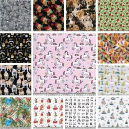100% Digital Cotton Fabric Little Johnny Range Dogs Unicorns Floral 145cm Wide
